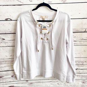 Michael Kors Lace Up Collar Sweater